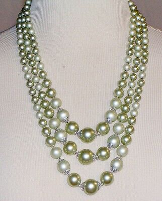 Vintage Multi Strand Mint Green Hong Kong Necklace Ladies Womens Silvertone