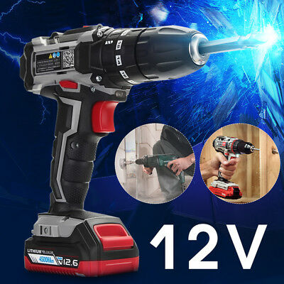 12V Cordless Drill 2 Speed Electric Screwdriver Rechargeable Tool Li-ion Battery
