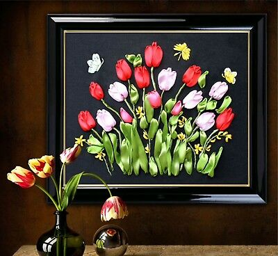 Tulip Flowers DIY Ribbon Embroidery Kit Marked Pattern Cotton Unframed 40x35cm