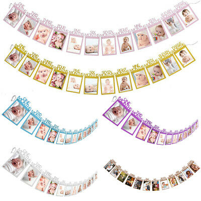 Creative First Birthday Photo Banners Monthly Photo Bunting Decoration Supply