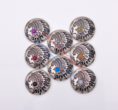 10x Silver Native Navajo Indian Chief Turquoise Leathercraft CONCHOS SCREW BACK