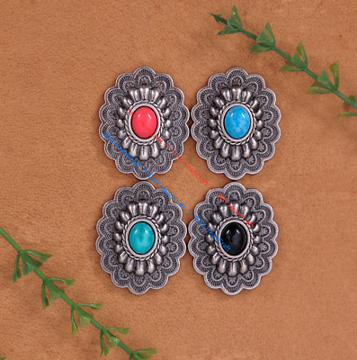 10x Antique Silver Navajo Oval Flower Turquoise Leathercraft CONCHOS Rivet Back