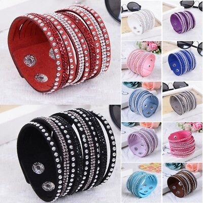 Womens Leather Wrap Wristband Cuff Multilayer Crystal Rhinestone Bracelet Bangle