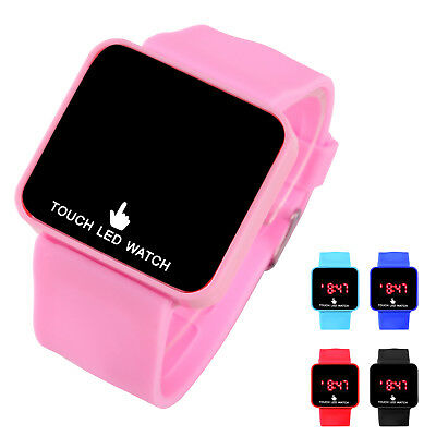 LED Touch Digital Screen Wrist Watch For Men Women School Boys Girls Kids Band