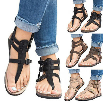 Womens Gladiator Roma Sandals Summer Beach Ladies Flat Leather T-Strap Shoes AU