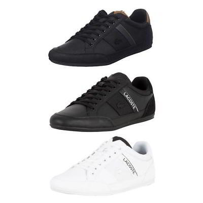 Lacoste Chaymon Mens Black White Leather Lace Up Trainers Shoes Size 7-11