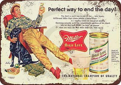 "1955 Miller High Life and Hunting Vintage Retro Metal Sign 8"" x 12"""