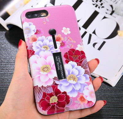 New Retro Flowers Ring Holder Stand Hybrid Phone case for iphone X 8 7 6s 6 plus
