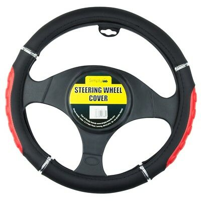 Black & Red Car Steering Wheel Cover Comfy Universal Padded Design Grip Glove