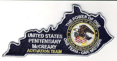 Bureau of Prisons USP McCreary Activation Team KY Patch State Shaped