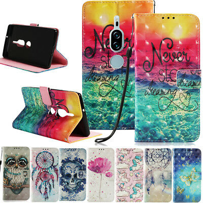 Premium PU Leather Patterned Folio Flip Wallet Case Stand Cover For Sony Xperia