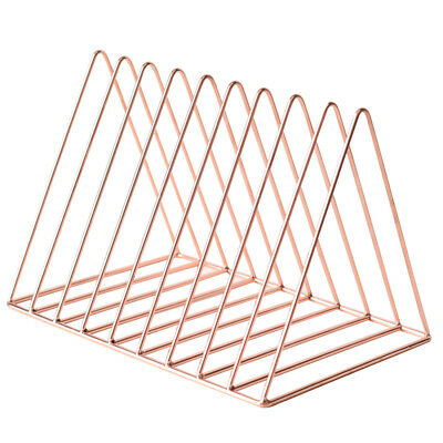 Rose Gold Metal Bookshelf Magazine Book Stand Rack Holder, Desktop Organizer