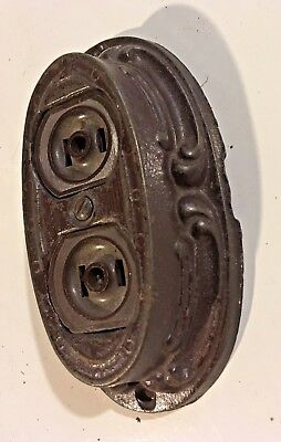 Victorian antique WILLIAM HERST Chicago fancy cast iron electric outlet CLEAN !