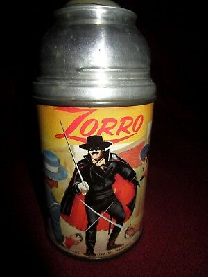 Vintage Zorro 1958 Aladdin Metal Thermos with Stopper but No Cap