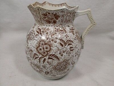 "J F Wileman ""French"" Pre-Shelly Brown Staffordshire Pitcher Aesthetic Movement"