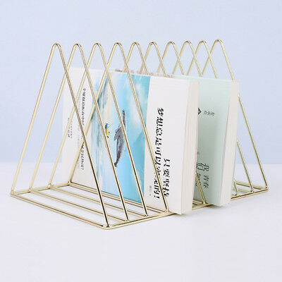 Chic Gold Metal Bookshelf Magazine Book Stand Rack Holder, Desktop Organizer