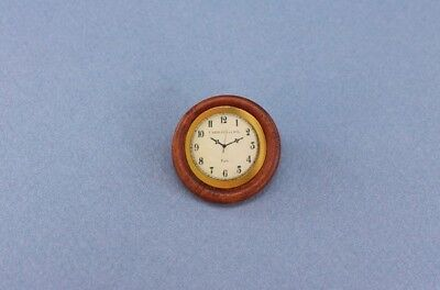 NICE 1:12 Scale Dollhouse Miniature Round Wooden Wall Clock #MWFM32