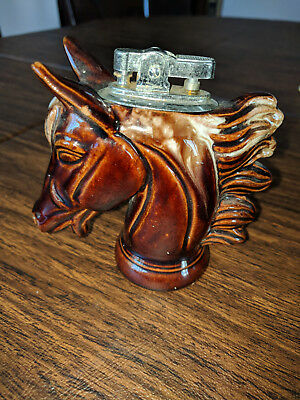 HORSE HEAD Table CIGARETTE LIGHTER brown ceramic JAPAN