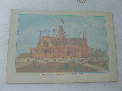 "1876 Philadelphia Exposition Color Litho Card Colorado & Kansas Bldg. (6""x4"")"