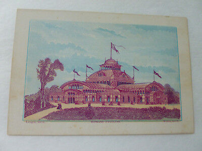 "1876 Philadelphia Exposition Color Litho Card Woman's Pavillion (6.25"" x 4.25"")"