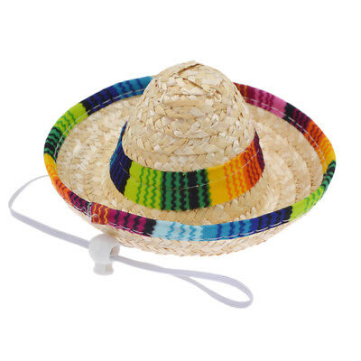 Handmade Straw Pet Dog Cat Costume Mexican Sombrero Hat Birthday Gift Travel Cap