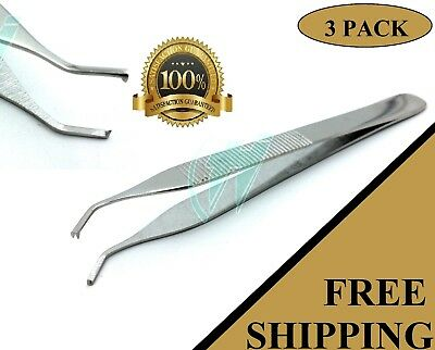 """Pack of 3 pcs Adson Tissue Thumb Forceps 4.75"""" (12cm) 1X2 TEETH Curved Angled"""