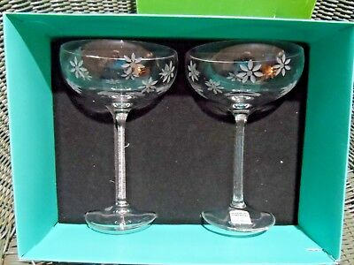 2 Bubbly Daisy Saucer Champagne 8oz Lead Crystal Glasses-Kate Spade-Germany