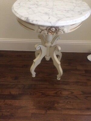 Victorian Round French Of White Accent Table  With Marble Top.  Wood !!! L@@k !!