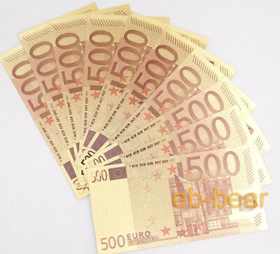 Lot 10 Pcs Color Gold 500 Euros Banknotes Money Crafts Gift Very Beautiful New