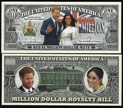 Harry and  Meghan Royal Couple Million Dollar Note -Lot of 2 BILLS
