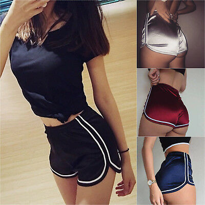 Womens Sports Casual Shorts Workout Running Gym Shinny Yoga Hot Pants Bottoms AU