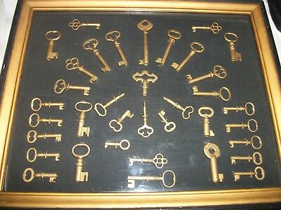 36 Antique Vintage Keys Collection Mostly Barrel Type With A Nprr Railroad Key