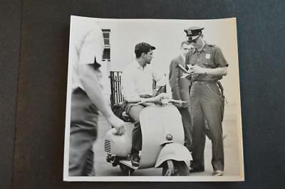 Vintage Photo Man Gets Speeding Ticket Police Sears Allstate Motor Scooter 893