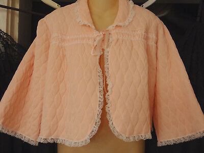 Vtg 60s Chase Union-made Pink Quilted Lace-Trimmed Bed Jacket-L