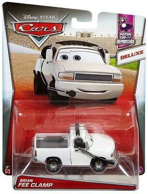 DISNEY PIXAR CARS BRIAN FEE CLAMP PISTON CUP REPORTERS DELUXE 2017 SAVE 5/%