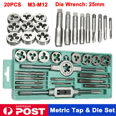 20pcs Metric Tap Screw And Die Wrench Set Carbon Steel Threading Hand Tool