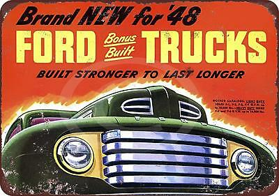 """1948 New Ford Trucks Built Strong Rustic Vintage Retro Metal Sign 8"""" x 12"""""""