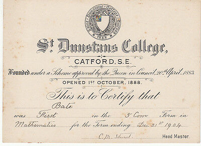 St Dunstan's College, Catford 1904 Certificate for 1st in Mathematics