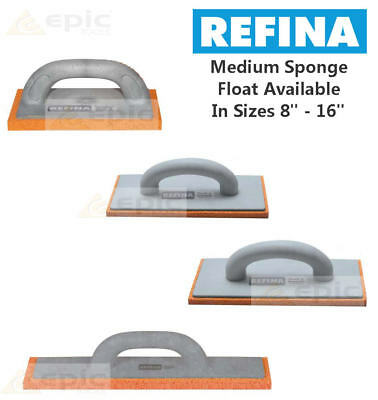 "Refina Plastering Sponge Float Trowel Orange Rubber Medium Choose Size 8""-16"""