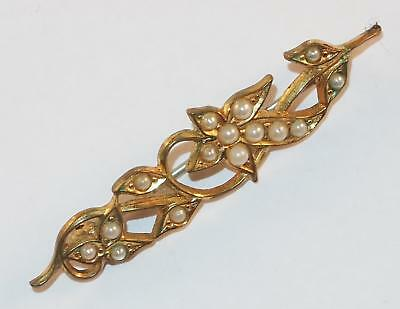 e12add584 Antique Victorian Goldtone Flowers   Leaves Inset Seed Pearls Bar Pin Brooch