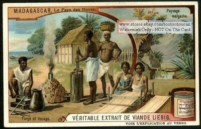 Madagascar Malagasy Natives Weaving Iron Forge  Africa c1909 Trade Ad Card