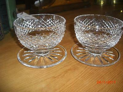 Pair Of Alana Footed Dessert Dishes  By Waterford Crystal