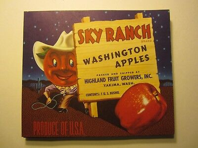 Wholesale Lot of 100 Old Vintage - SKY RANCH Apple LABELS - Cartoon COWBOY Apple