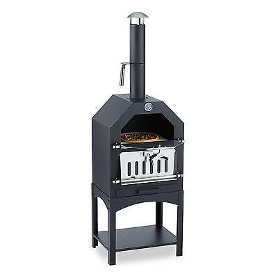 Four Pierre Pizza Barbecue Charbon Bois Fumoir Grill Multifonctions Thermomètre