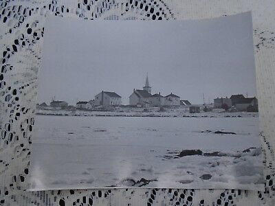B&W Photo Nova Scotia Village at Waterfront with Large Church Ice in Harbor