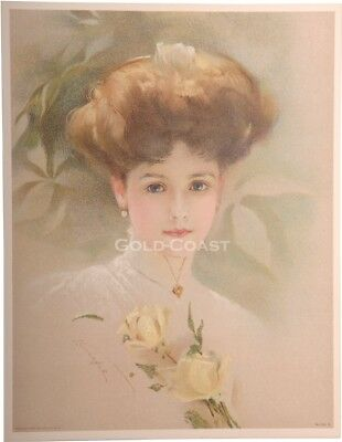 Artist-Signed 1909 Victorian Color Litho Print: Woman & Hair - Chromolithograph