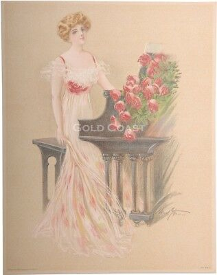 Piano Playing Woman, Music 1909 Victorian Color Litho Print / Chromolithograph