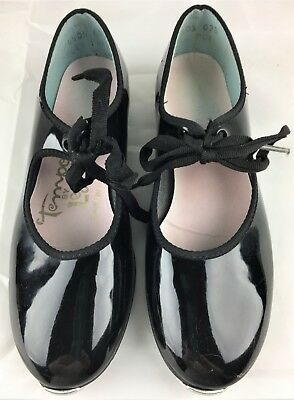 Tempo by Leos Girls Tap Shoes Dance Black Patent Leather Unable to Read Size