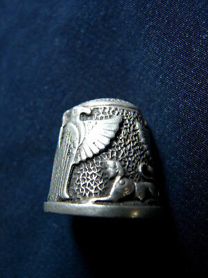 Vintage Very Rare BATTERSEA PEWTER THIMBLE- Mythology SPHINX & PHOENIX