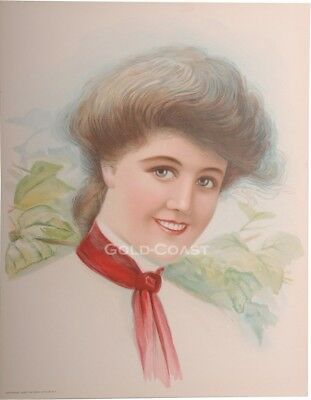 Woman in Red Tie 1906 Victorian Color Litho 10x13 Print - Chromolithograph